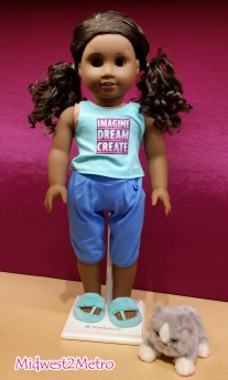 American Girl 2017 Gabriela McBride - Ready to Relax in her adorable PJs. www.Midwest2Metro.com